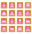 amusement park icons set pink square vector image vector image