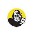 angry gorilla head baseball cap circle retro vector image