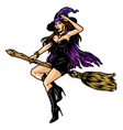 beautiful witch in hat vector image vector image