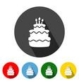 birthday cake flat icon long shadow vector image vector image