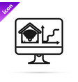 black line computer monitor with smart home with vector image vector image