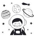 boy astronaut in space scandinavian style vector image vector image