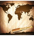 brass telescope at world map vector image vector image