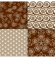 Brown and white sakura flowers pattern set vector image vector image