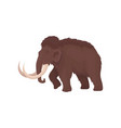 brown mammoth with big tusks large extinct animal vector image vector image