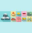 car wash logo set flat style vector image