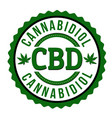 cbd cannabidiol sign or stamp vector image vector image
