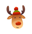 christmas cute reindeer with red nose cartoon vector image vector image