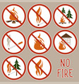 collection no fire icons vector image vector image