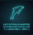 dolphin neon light icon undersea world high vector image