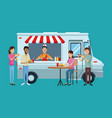 food truck and customers vector image vector image