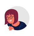 funny curious teenage girl in glasses peeping vector image vector image