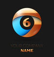golden number six logo in golden-blue circle vector image