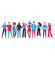 group young people teenagers team happy vector image