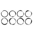 hand drawn circles sketch frame set vector image