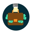 Hand with Briefcase vector image vector image