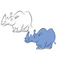 illstration of a cheerful blue rhinoceros for the vector image