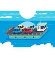 isometric 3d barge carrying colors classic vector image vector image