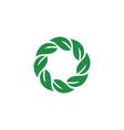 leaf logo circle template vector image