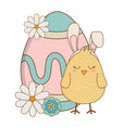 little chick with ears rabbit and egg painted vector image vector image