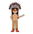 native indian american with war bonnet traditional vector image