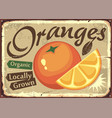 oranges locally grown retro farm sign vector image vector image