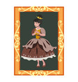 princess portrait in golden frame vector image