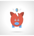 Red piggy bank flat color icon vector image vector image