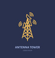 satellite dish tower flat line icon wireless vector image vector image