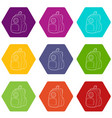 school backpack icons set 9 vector image vector image