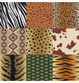 seamless animal skin patterns set safari textile vector image vector image