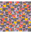 seamless pattern old town cartoon houses vector image