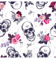 seamless pattern with human skulls and half vector image
