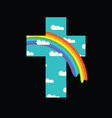 sign cross with clouds and rainbow in sky vector image vector image