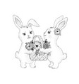 spring bunny rabbits with flowers blossom in vector image vector image