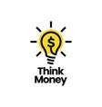 think money bulb lamp dollar smart idea logo icon vector image vector image