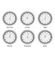 time zone clocks modern wall round clock face vector image vector image
