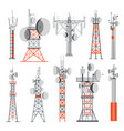 towers and stations supplying electricity set vector image vector image