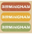 Vintage Birmingham stamp set vector image
