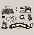 vintage screen printing elements composition vector image vector image