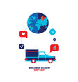 worldwide delivery shipping shopping car on the vector image vector image