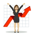 young business woman with arms raised vector image vector image