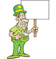 Cartoon Man Wearing a Derby and Holding a sign vector image