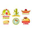 mexican salsa food restaurant badges vector image