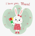 a hare girl in a dress holds three tulips mother vector image