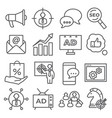 advertising line icons on white background vector image vector image