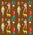american cowgirls seamless pattern woman vector image