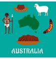 Australian conceptual travel icons and landmarks vector image