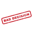 Bad Decision Text Rubber Stamp vector image vector image