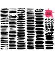 big set of brush strokes black ink grunge vector image